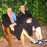 Kalle und Thomas in der Birkensauna in Haan